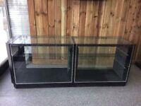 2 x glass display units retail