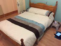 Double bed frame solid pine