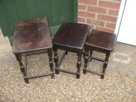 NEST OF 3 OLD OCCASIONAL TABLES