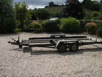 Car trailer.Four wheel with brakes and winch.
