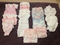 Tiny baby girl clothes, approx weight 4-6.5lbs