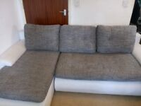 White Leather and Fabric Corner Sofa Bed Living Room Settee With Storage
