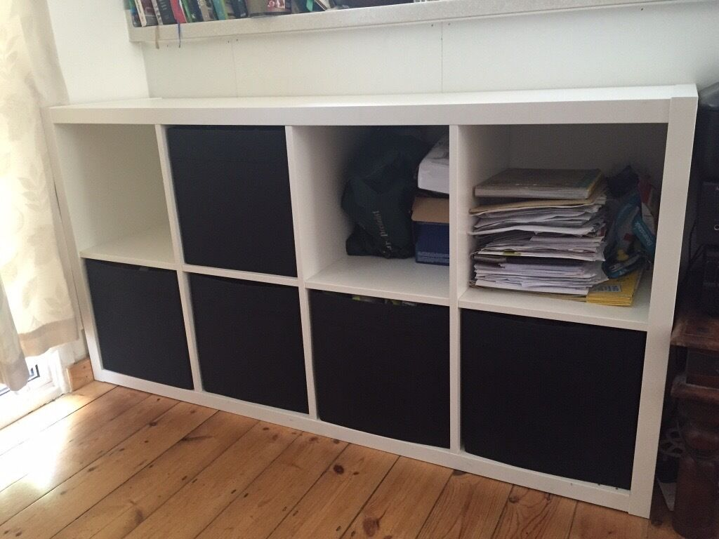 ikea kallax shelving unit white with 5 box inserts great condition in dulwich london. Black Bedroom Furniture Sets. Home Design Ideas