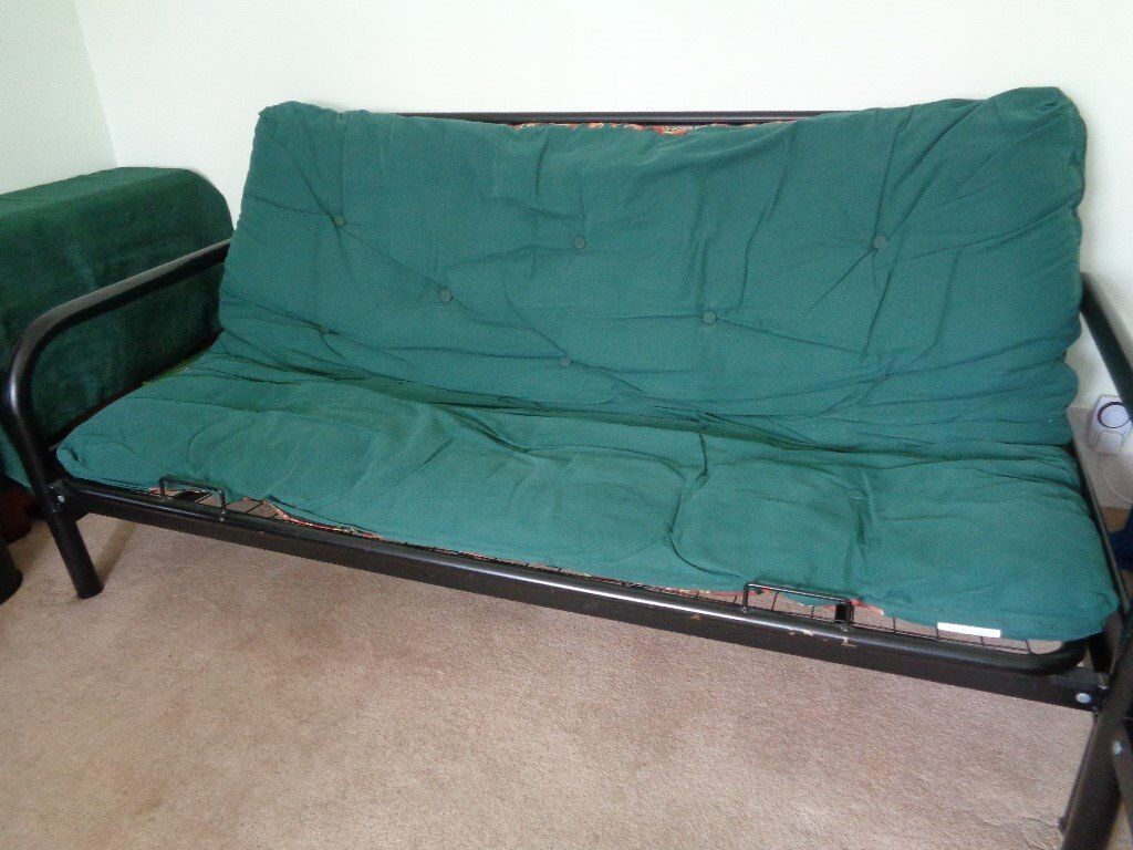 Double Futon Sofabed 2 Matching Chairs Black Metal Frame Green Aztec Patterned