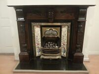 Wooden surround with Gas fire