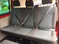 VW Kombi T6 3 seater folding bench seat in Samora trim complete with seatbelts
