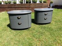 2x grey bedside drawer cabinet