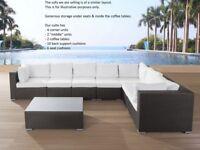 Modular Brown Wicker Rattan Corner Sofa + 2 Matching Coffee Tables GREAT condition