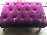 *** BESPOKE XX LARGE FOOTSTOOL IN PLUM CRUSHED VELVET DEEP BUTTONED WITH CRYSTALS SHABBY CHIC L@@K *
