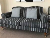 Two x 2 seater grey striped sofas