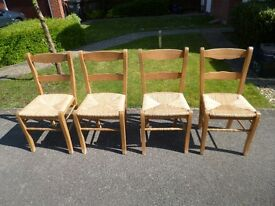 Country/rustic pine chairs with rush seating, set of 4