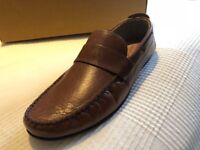 Brand New mens Next Leather Loafers, size 8, brown