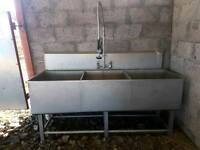 Stainless triple sink