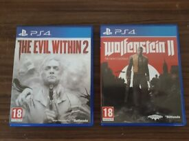 2 PS4 games 18+ (The evil within 2 & Wolfenstein II). One for 30 or two for 55.