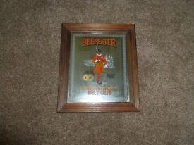 Retro Beefeater Gin Mirror - genuine in original frame