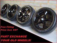 "1532 Genuine 17"" BMW 256 3 2 1 Series E81 87 F20 Black Alloy Wheels & New Tyres"