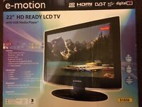 """E-motion 22"""" HD ready LCD TV with USB media player"""