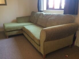 Chaise Lounge Green Sofa plus Pouffe. In good condition and comfortable.