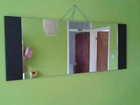 mirror with dark brown/black faux leather detail