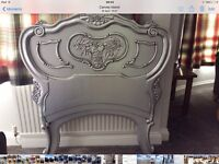 French style silver single bed head