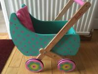 wooden dolls push along pram turquoise and pink