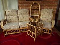 Conservatory furniture - 2 seater sofa, 2 highback armchairs, tall unit and glass top table