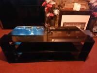Black wood/glass tv stand