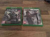 Xbox One Games. Gears of War 4 and Tomb Raider Definitive Edition.