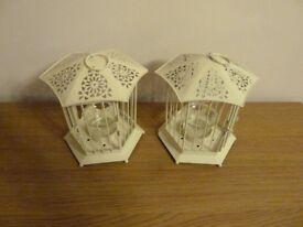 2 x Cream small metal candle lanterns