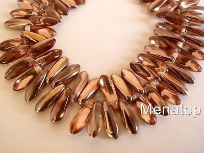 25 5 X 16 Mm Czech Glass Dagger Beads  Apollo Gold