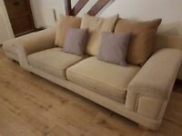 3 & 2 seater cream sofa & pouffee