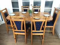 Pine table and chairs free delivery Ldn extendable to 8 people