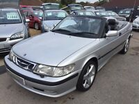2000/X SAAB 9-3 2.0 TURBO SE CONVERTIBLE,SILVER,FULL LEATHER,LOW MILEAGE,LOOKS AND DRIVES WELL