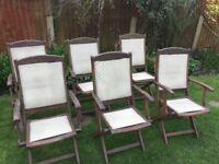 six hardwood chairs