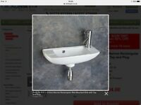 Porto narrow wall hung sink 50.2cm X 22.5cm