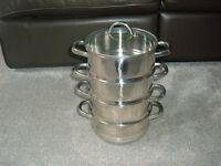 BRAND NEW - STAINLESS STEEL 4 TIER STEAMER WITH GLASS LID - STILL WRAPPED - NEVER BEEN USED