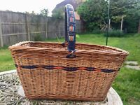 Vintage wicker basket with colourful nylon handle