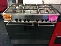 DELONGHI 90CM BRAND NEW DUAL FUEL RANGE STYLE COOKER