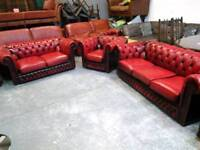 Red leather chesterfield suite