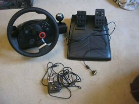 PLAYSTATION 3 OFFICIAL LOGITECH DRIVE FORCE GT, INCL STEERING WHEEL, PEDALS & POWER SUPPLY. DELIVER