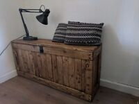 LARGE Rustic wooden trunk bench/chest ottoman/storage. Handcrafted, reclaimed wood. Local delivery