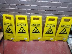 JOB LOT - Professional Caution Wet Floor Cleaning Slip Hazard Safety Warning Sign X 5 New in Plastic