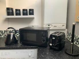 Microwave, kettle, toaster bundle.