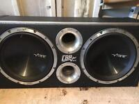 """Vibe CBR evo 12"""" twin double subwoofers in original enclosure 3200w very powerful"""