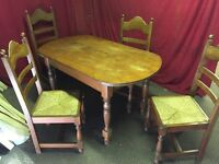 WOODEN DINING TABLE AND 4 CHAIRS,CAN DELIVER