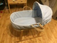 Claire de Lune moses basket and rocking stand, very good clean condition