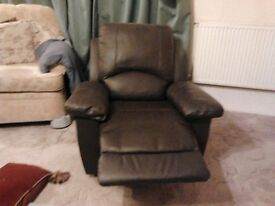 Recliner Chair Leather type finish manual operation good condition