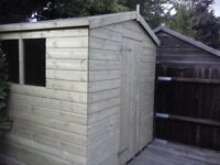 8 x 4 'BLACKFEN' NEW ALL WOOD GARDEN SHED, T & G, TREATED, £425 INC DELIVERY & INSTALLATION