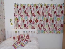 Curtains for Girl/Teenager's bedroom with matching cushions