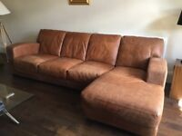 Lovely leather brown sofa with chaise end and chair